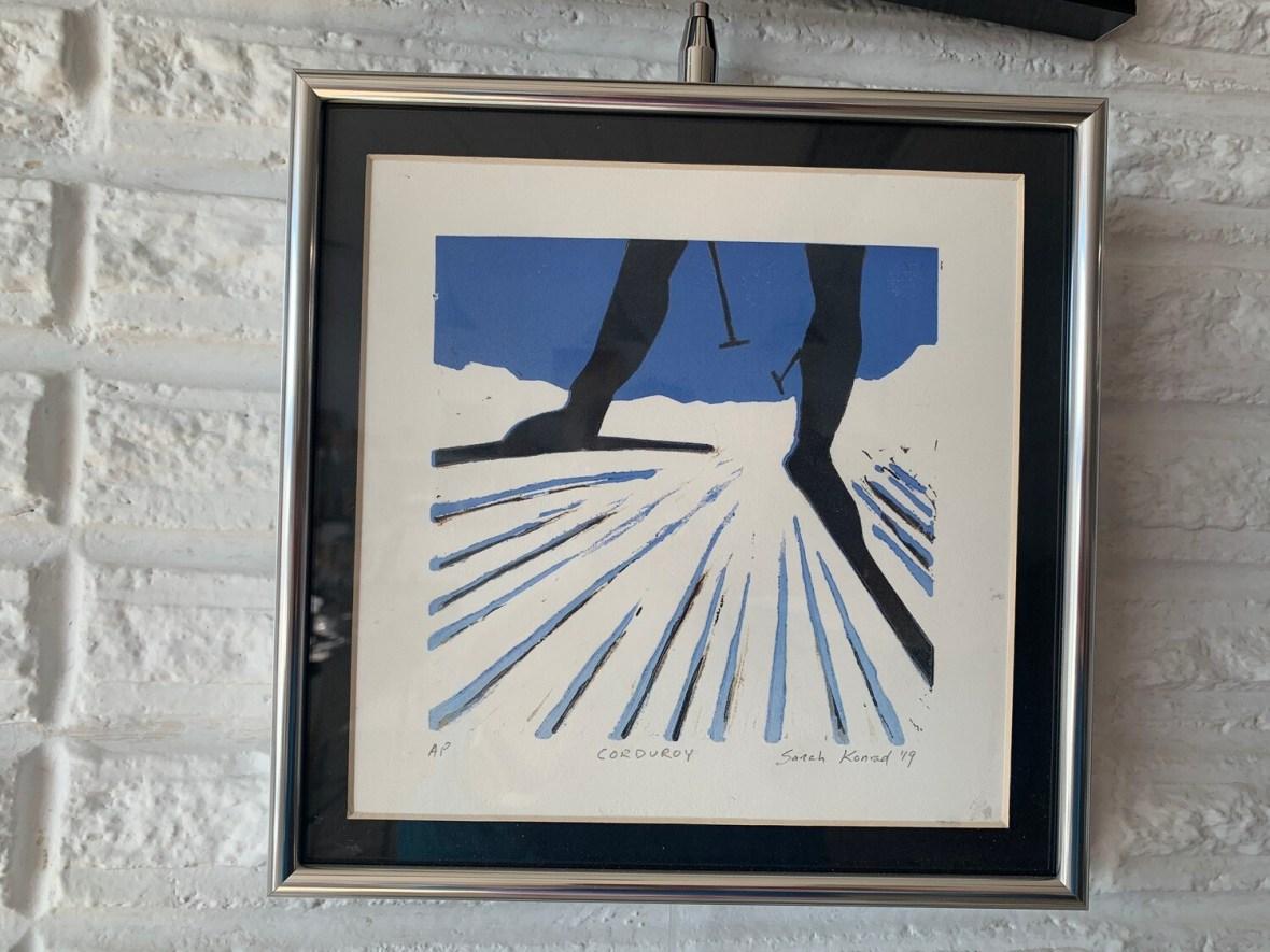 Corduroy  (linoleum cut print) by Sarah Konrad