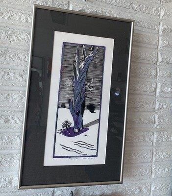 Midnight (linoleum cut print) by Sarah Konrad