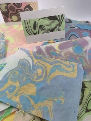 Handmade Suminagashi Marbling Paper - Japanese paper - great for book binding handmade journals!  3 sheets