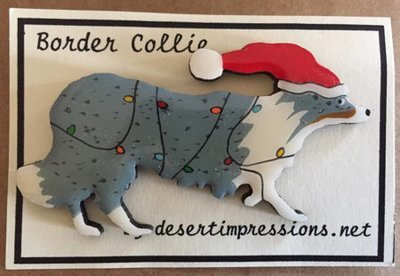 Blue Merle Border Collie Christmas Pin - Free Shipping