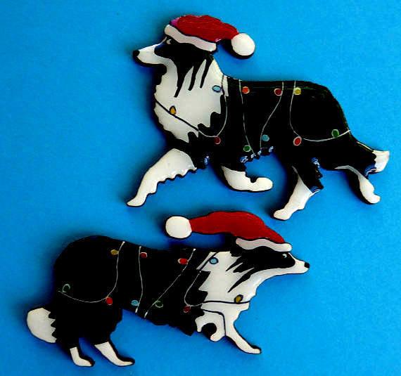 Black & White Border Collie Christmas Pin - FREE Shipping