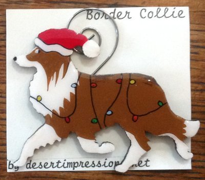 Red & White Border Collie Christmas Ornament - FREE Shipping