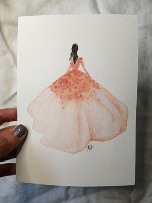 Peach Ballgown Painted Lady - ORIGINAL