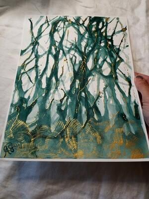 Green Chaos - ORIGINAL abstract Watercolor Painting