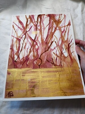 Coffee and Wine - ORIGINAL Abstract Watercolor
