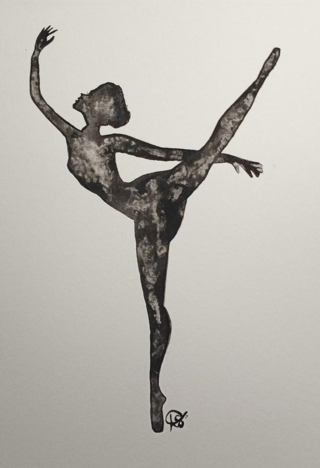 Silhouette Ballerina - ORIGINAL - watercolor