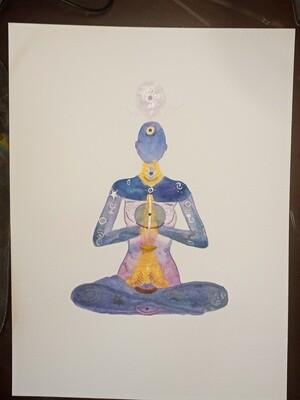 Chakra Goddess -ORIGINAL- watercolor painting