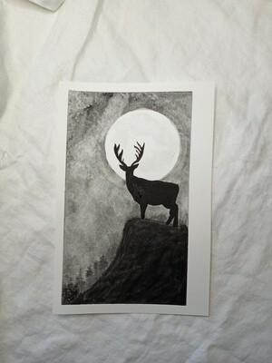 FULL BUCK MOON - ORIGINAL - watercolor