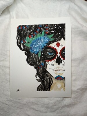 Candy Skull - Handmade Watercolor Painting