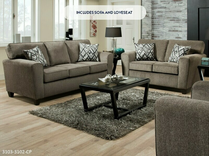 Cornell Pewter Sofa and Loveseat by American Manufacturing