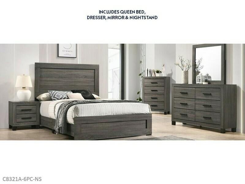 Salt Creek Gray 6 Pc Bedroom Set by Lifestyle (Queen)