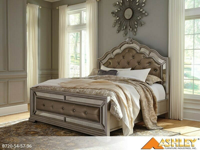 Birlanny Silver Bed with Headboard Footboard Rails by Ashley (Queen)