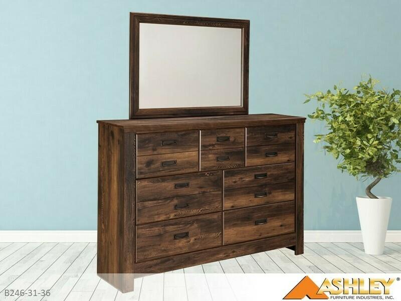 Quinden Dark Brown Dresser with Mirror by Ashley