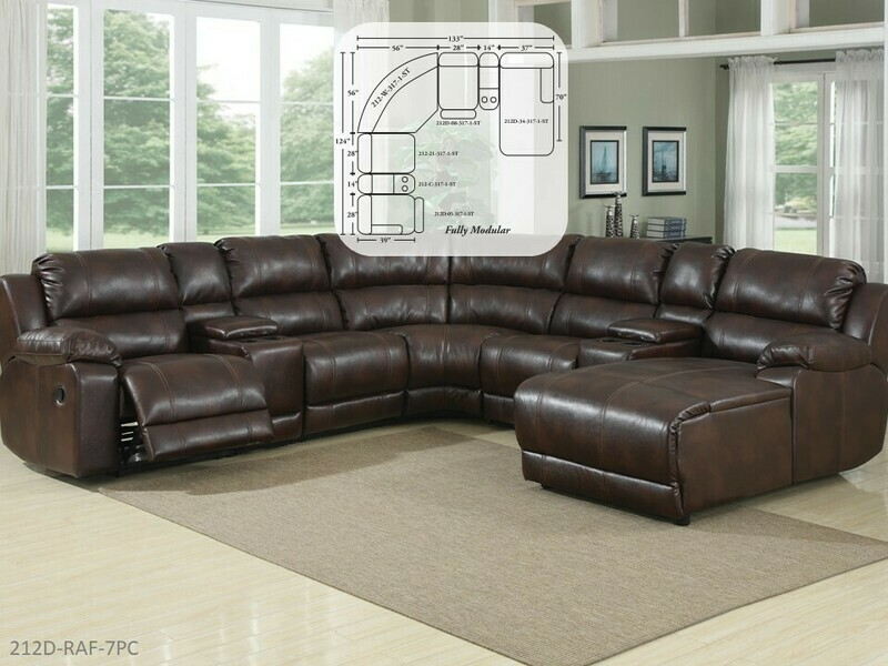 Caramel Brown Reclining Sectional by AWFCO (7 Piece Set)