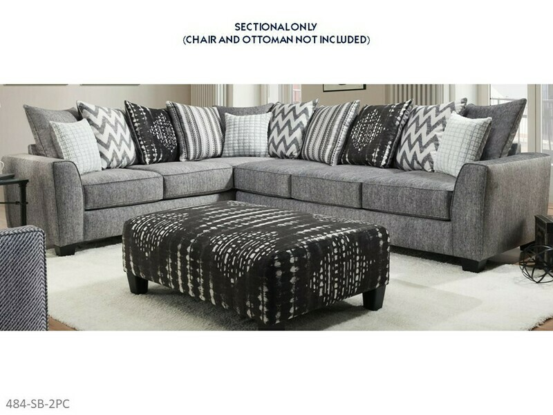 Stonewash Black Stationary Sectional by Albany (2 Piece Set)