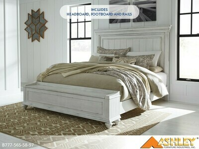 Kanwyn Whitewash Bed with Headboard Footboard Rails by Ashley (California King)