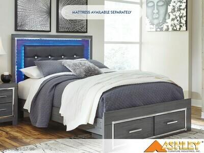 Lodanna Gray Bed with Headboard Footboard Rails by Ashley (Queen)