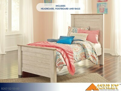 Willowton Whitewash Bed with Headboard Footboard Rails by Ashley (Twin)