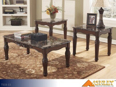 North Shore Dark Brown Occasional Table Set by Ashley (3 Piece Set)