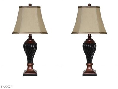 Scott Black-Copper Lamps by AWF Imports (Pair)