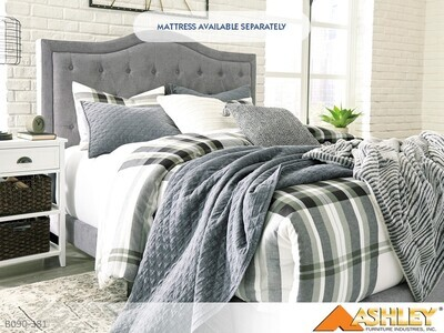 Jerary Gray Bed with Headboard Footboard Rails by Ashley (Queen)