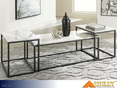 Donmesta Gray-Black Occasional Table Set by Ashley (3 Piece Set)