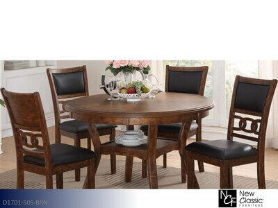 Gia Brown 5 Pc Dining Set by New Classic (5 Piece Set)