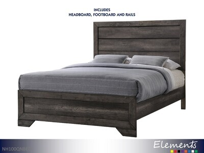 Nathan Bed with Headboard Footboard Rails by Elements (Queen)
