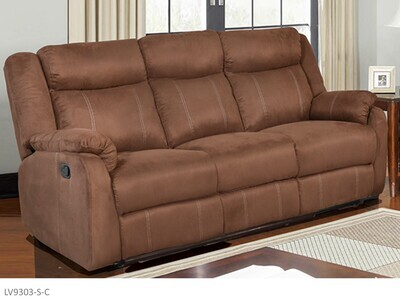Chocolate Reclining Sofa by AWF Imports