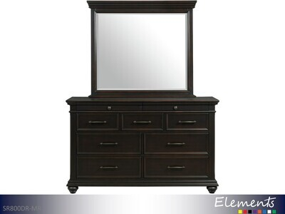 Slater Black Dresser with Mirror by Elements (2 Piece Set)