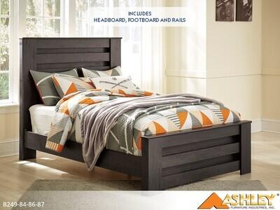 Brinxton Charcoal Bed with Headboard Footboard Rails by Ashley (Full)