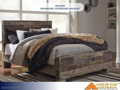 Derekson Multi Gray Bed with Headboard Footboard Rails by Ashley (Queen)