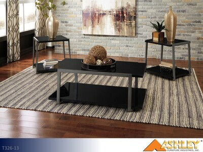 Rollynx Black Occasional Table Set by Ashley (3 Piece Set)