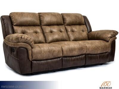 Denali Brown Reclining Sofa by Man Wah