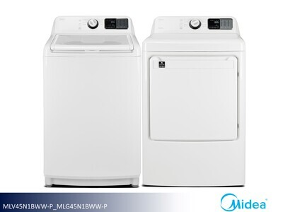 White Washer Dryer Set by Midea (4.5 Cu Ft - 8.0 Cu Ft)