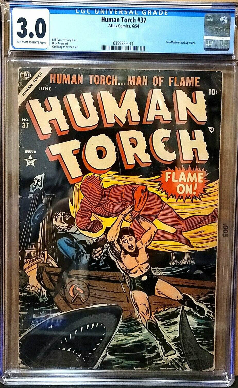 HUMAN TORCH #37 - ATLAS COMICS 1954 CGC 3.0 (Sub-Mariner 2ND story).