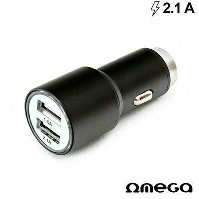 Cargador Coche Universal Doble Entrada USB Metálico 2 x USB Omega 2.1 Amp Negro