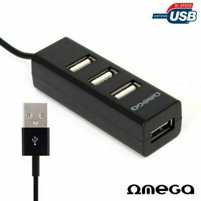 Hub 2.0 Omega 4 Puertos Negro