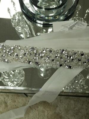 Organza Bridal Belt with clear crystals