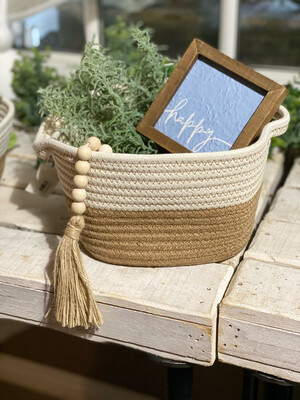 White And Natural Soft Basket Lg