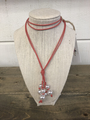 #47 Coral Leather Pearl Necklace