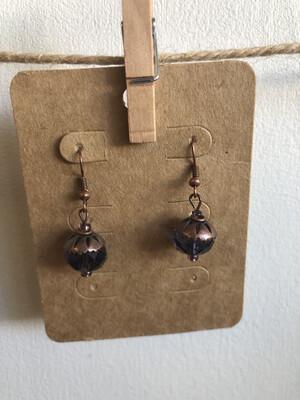 #9 Purple Clear Bead Earrings