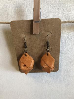 #5 Orange Knot Earrings - Small