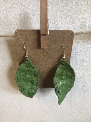 #31 Bright Green Leather Feather Earrings - Med