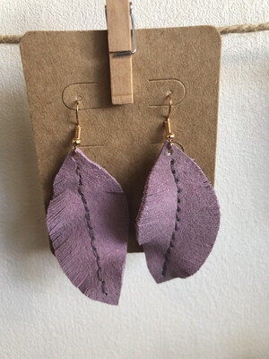 #18 Lavender Leather Feather Earrings - Large