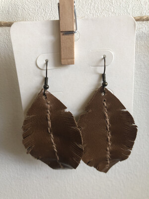 #21 Med Brown Leather Feather Earrings - Med