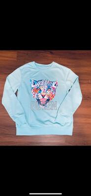 (131) Blue Queen Lion Sweatshirt