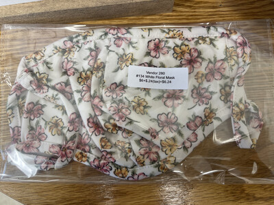 134 White Floral Mask