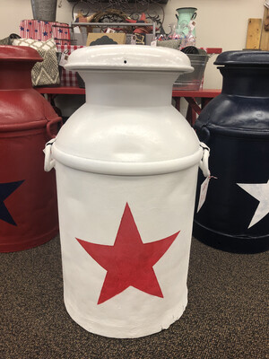 (398) Milk Can Wh w/red