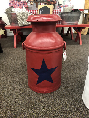 (396) Milk Can red w/blue